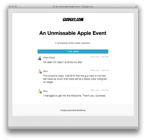 Live blog screenshot